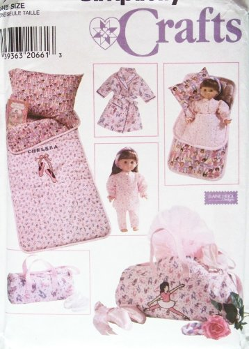 """OOP Simplicity Pattern 7770. Childs & 18"""" Dolls: Sleeping Bag; & Duffle Bag. Also: 18"""" Doll (Such As American Girl Dolls) Pajamas; Robe; & Pillow. Also: Childs Pillow Case"""