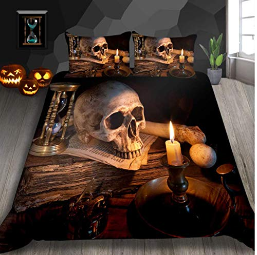 NTT Duvet Cover 3D Women And Skull Bedding Sets Sugar Black Skull Halloween Style Bed Sheet Linen Cotton Blend Flower Skull Duvet Cover Set 150 * 200Cm