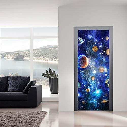 AoHUIFEI idee van de open haard deur deur sticker DIY waterdicht behangpalen voor de decoratie van het huis 77x200cm Vistoso
