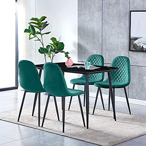Modern Dining Room Table and Green Velvet Chairs Set of 4, 5 Pcs Black Wood Marble Effect Kitchen Table with 4 Occasional Velvet Chairs Black Metal Legs for Small Dinette Apartment Space Saving