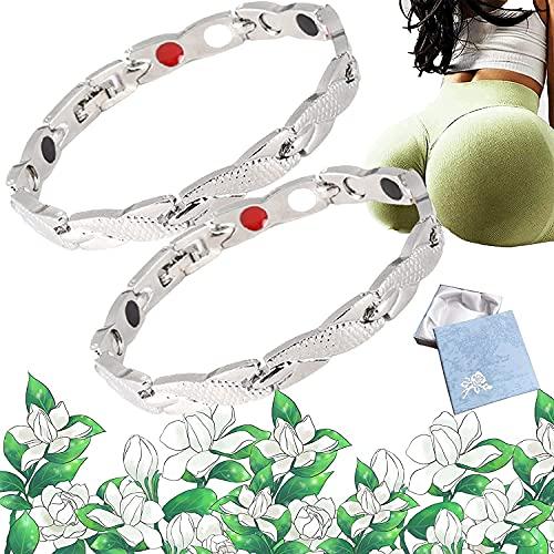 Ionlift Butt Straffendes Armband, ButtLift Damen Magnetarmband, elegante Magnettherapie Fit Plus Armband (Silber)