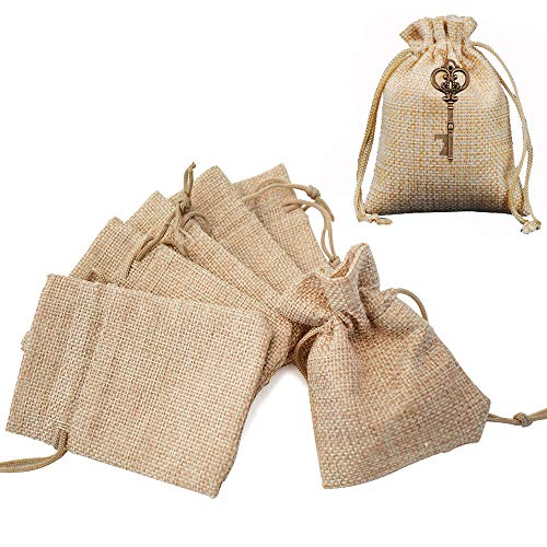 Gudotra Acerca de 100pcs Bolsa de Lino con Cordón para Joyería Regalos Arroz Boda Navidad Bolsitas de Tela Saco 10 * 14cm (100pcs 10 * 14cm)
