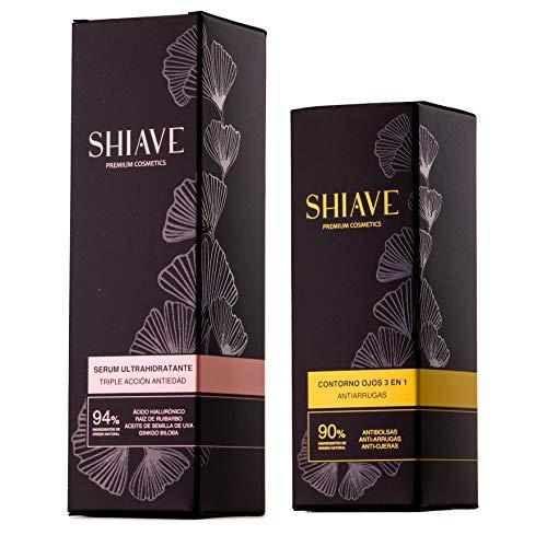 Shiave Ritual Pack Belleza Facial: Serum Ultrahidratante Antiedad 50ml + Contorno De Ojos Antiarrugas 15 ml. Ácido Hialurónico, Ginkgo Biloba. Textura ligera, alta hidratación. 100% vegano.