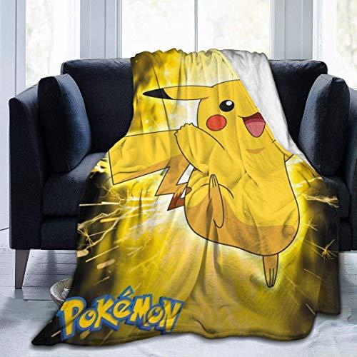 _Pokemon_Flanell-Überwurf, Decke, ultraweiche Tagesdecke, Fleece-Decke, langlebig, Heimdekoration, perfekt warm für Bett, Sofa, Couch, Stuhl, 203,2 x 152,4 cm