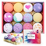 homasy 12pcs bath bombs, bath bomb gift set rich in natural essential oils, perfect for bubble &
