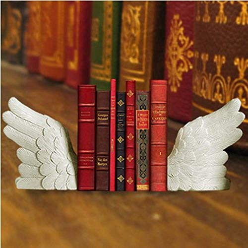 TIN-YAEN Bookend European Style White Resin Wings Bookend Magazine Shelf Living Room TV Cabinet Bedroom Hotel Cafe Bookstore Desktop Decoration 29.6 7 18.2CM Delicate Beautiful