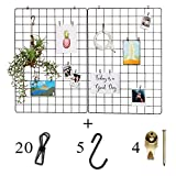 Fourberry Wire Wall Grid Panel - Large - 2 Pack (25.6 x 17.7 in) Black - Includes 20 Metal Clips, 5 S Hooks, 4 Wall Hooks Set - Modern Bulletin Board - Office Organizer - Photo Display - Vision Board
