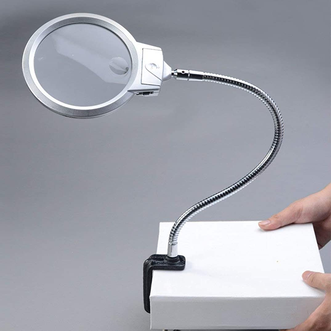 Portable magnifier Desktop Magnifying Glass With LED Light, 2X 2.5X Large Double HD Lens 107mm Hands-free Magnifying Glass With Clip Repair Carving Workbench Antique Jewelry Identification Personalize