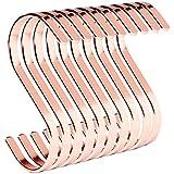 PAMO S - Juego de 10 ganchos de cocina de acero inoxidable para colgar sartenes en la cocina o ropa, ganchos en forma de S de acero inoxidable (10, oro rosa)