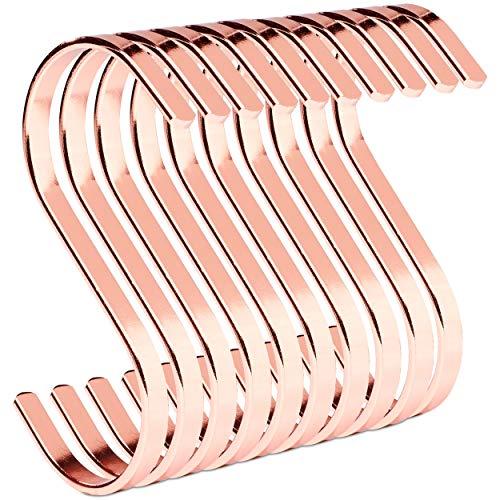 PAMO S Haken Rose Kupfer aus Metall - 10er Set - Küchenhaken aus Edelstahl zum Aufhängen von Pfannen in der Küche oder Kleidung an der Kleiderstange S-Haken Stahl rostfrei (10, Rosegold)
