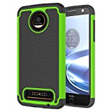 Lxlfcase for Motorola Moto Z Force Case Scratch Resistant Phone Case for Moto Z Force Droid Heavy Duty Rugged Shock Absorption Cases for Moto Z Force (Black+Green)