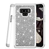 COTDINFOR Samsung Galaxy Note 9 Custodia Cover Bling Diamante Custodia Protettiva Antiurto in Plastica Silicone a Doppio Strato Case per Galaxy Note 9. 2 in 1- Bling Gray YB