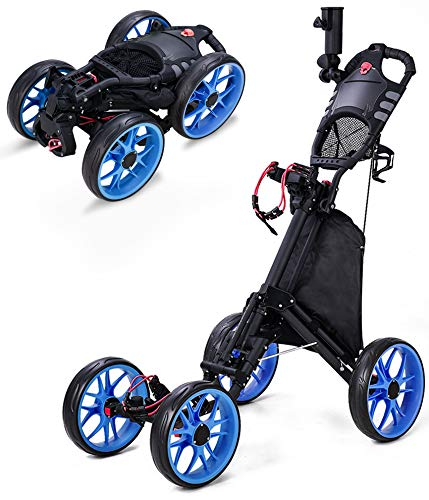 Morinome Golf Push Cart, 4 Wheel Folding Compact Golf Pull Cart with with Umbrella Drink Holder, Golf Cart for Golf Bag, Clubs