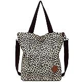 JANSBEN bolsos bandolera grandes para bolsos de mujer tote bag tela shopper hombro universitarias canvas (Leepard)