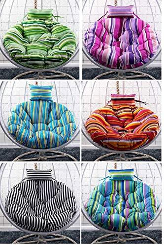 Servicios para el hogar Almohadillas para sillas Colgantes Cojín para Silla Tipo Hamaca de Huevo para Interior y Exterior Jardín Cesta Colgante Silla 105cm Largo-Verde (Color: Negro) (SIN Silla)