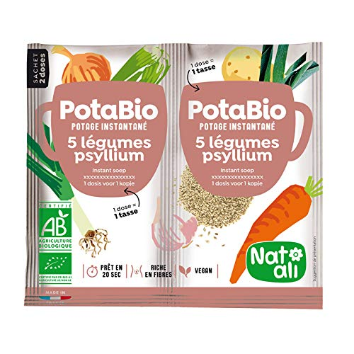 NAT'ALI - Organic Instant 5 Vegetable & Psyllium Cup Soup (Pack of 3) Made in France