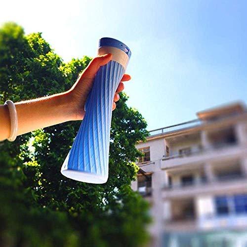 FSJIANGYUE Botella de Agua de Acero Inoxidable de Silicona portátil Cerveza de café con Estuche al Aire Libre Camping Holiday Picnic Copa Plegable, Azul (Color : -)