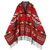 Uyuni Women's Bohemian Casual Hooded Shawl Fringe Poncho Cashmere Loose Plaid Cape Vintage Geometric Patterned Cardigan