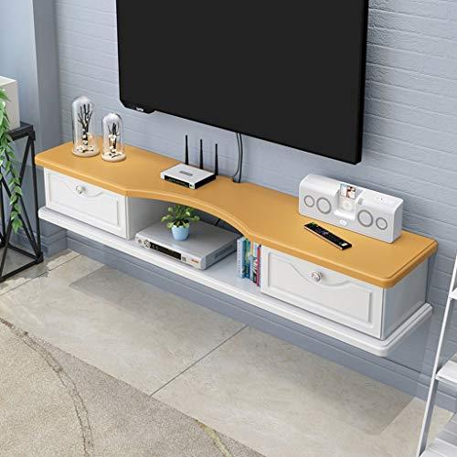 Geschorste TV plank met twee Flip lades muur gemonteerde TV rack drijvende TV planken TV kast plaats foto's/routers/TV dozen