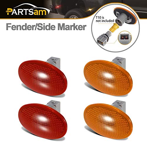 Partsam 2 Amber + 2 Red Dually Bed Fender Side Marker Lights Cover Lens with Sockets Aftermarket Replacements Compatible with F350 F450 F550 99 00 01 02 03 04 05 06 07 08 09 10