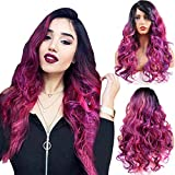 AQINBEL Synthetic Colorful Wigs Long Curly Wavy Black Root Mixed Purple Reddish 24 Inches Side Parting Hair Wig for Women Daily & Cosplay Use