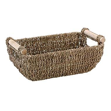 Hoffmaster BSK3000 Seagrass Basket with Handles, 4.25  Height, 6.25  Width, 12  Length, Dark Brown