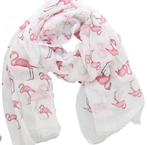Menga Damen Schal Halstuch Tuch weiß pink mit Flamingos
