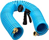 AUTOMAN-Garden-Water-Hose-Recoil,50 Feet EVA Curly Water Hose with Brass Connectors,Wateri...