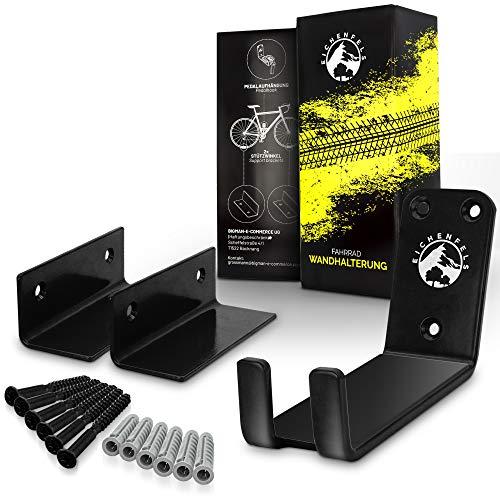 EICHENFELS Fahrrad Wandhalterung - Fahrradhalter [GEPRÜFT] - Fahrradhalterung Wand - Wandhalterung Rennrad MTB E-Bike + Montageanleitung - Befestigungsmaterial - 2x Stützwinkel (Schwarz)