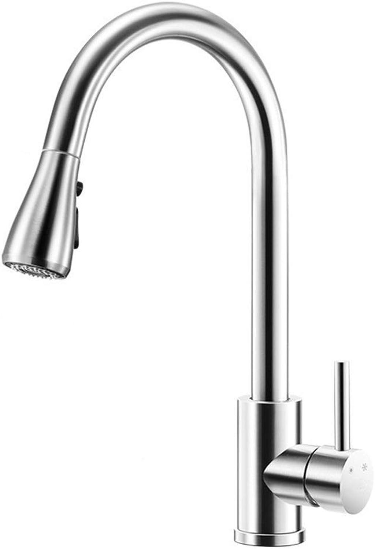 WANG LIQING Kitchen Sink Armaturen 304 Edelstahl Wasserhahn Gesunde Küchenspüle Heien Und Kalten Wasserhahn Pull Becken Wasserhahn (Farbe   Silber)