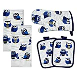 Franco Kitchen Designers Soft and Absorbent Cotton Towels with Pot Holders and Oven Mitt Linen Set, 15' x 25', Woodland Owls