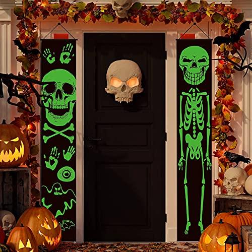 Decoraciones de pancartas de Halloween para exteriores, esqueleto luminoso, carteles de Halloween para puertas de entrada o decoración de interiores, decoraciones de porches(Esqueleto)