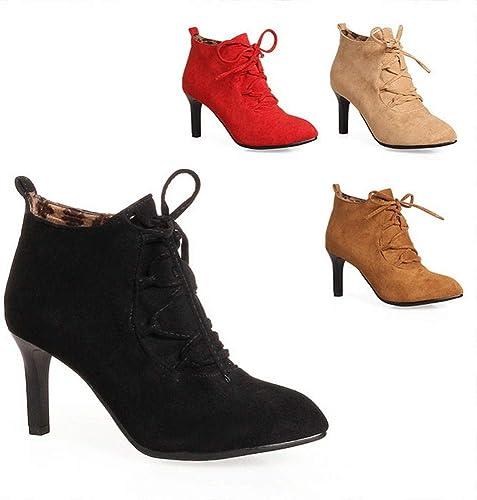 ZHRUI zapatos de mujer - botas Cortas de tacón Alto de Moda de Invierno botas Martin Antideslizantes cálidas 36-43 (Color   negro, tamaño   38)