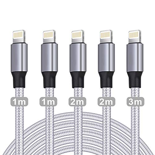WUYA Cable Cargador iPhone, Certificado MFi, Cable iPhone (5 unidades de 1/1/2/2/3 m), USB A a Cable Lightning Compatible con iPhone 12 11 Pro XS Max XR X 8 Plus 7 Plus 6 Plus 5S SE iPad