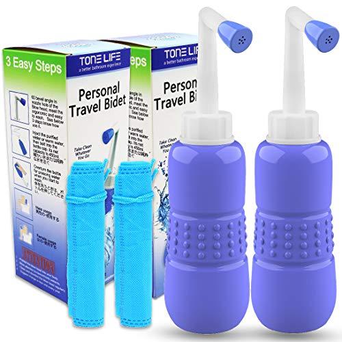 2 Stück Tragbarer Bidet -Portable Bidet - Travel Bidet - Peri Bottle - Hand-Bidet für Bidet, tragbar, mit Reisetasche, 450 ml Fassungsvermögen und abgewinkelter Düse