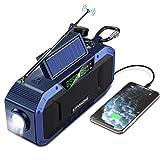 Tragbares Bluetooth Lautsprecher mit Radio AM FM - 5000mAh Batteriebetrieben Wiederaufladbare Dynamo Solar Kurbelradio,IP6 Wasserdicht Camping,Leselampe, Taschenlampe,SOS,USB Aufladen Telefon Notfall
