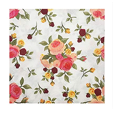 Meiosuns Servilletas de papel de flores Servilletas de papel Servilletas de té Servilletas de papel para el té, Cumpleaños (Safflower 1, Paquete de 20)