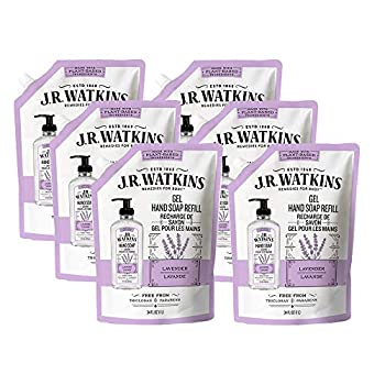 JR Watkins Gel Hand Soap Refill Pouch Lavender 6 Pack Scented Liquid Hand Wash for Bathroom or Kitchen USA Made and Cruelty Free 34 fl oz