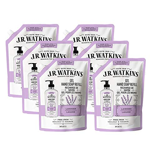 JR Watkins Gel Hand Soap Refill Pouch, Lavender, 6 Pack, Scented Liquid Hand Wash for Bathroom or Kitchen, USA Made and Cruelty Free, 34 fl oz