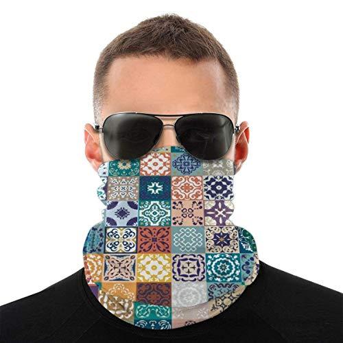 XaMiner Marokkanische Patchwork-Muster Gesicht Bandanas Hals Gamasche Nahtlose Kopfbedeckung Kopfwickel Sturmhauben für Staub Wind UV-Schutz