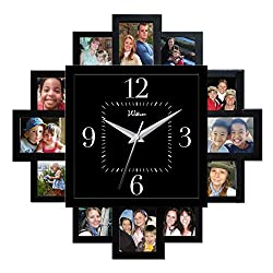 Ashton Sutton QA Wall Clock, Black Dial, 15.25 by 15.25-Inch