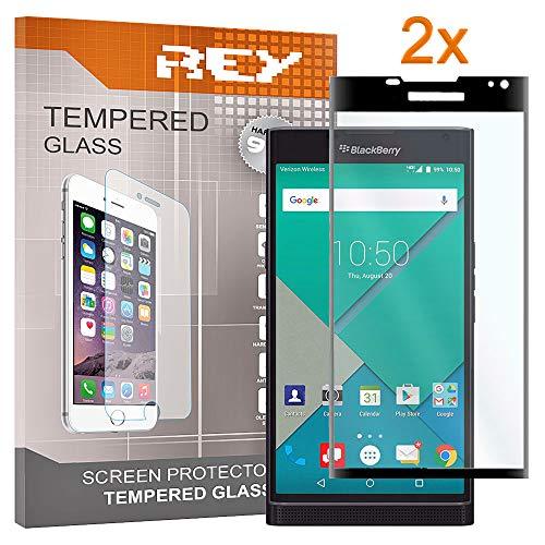 REY Pack 2X Panzerglas Schutzfolie für BlackBerry PRIV, Schwarz, Displayschutzfolie 9H+, Polycarbonat, Härte, Anti-Kratzen, Anti-Öl, Anti-Bläschen, 3D / 4D / 5D