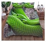 ghjk 220 × 230 cm 3 Piezas Set de Cama Verde Serpiente Cubierta de edredón Suave Microfibra Individual Doble tamaño King Cama de 3 Piezas Juego de 3 Piezas 2 x Pillowcasas 1 x Funda de edredón