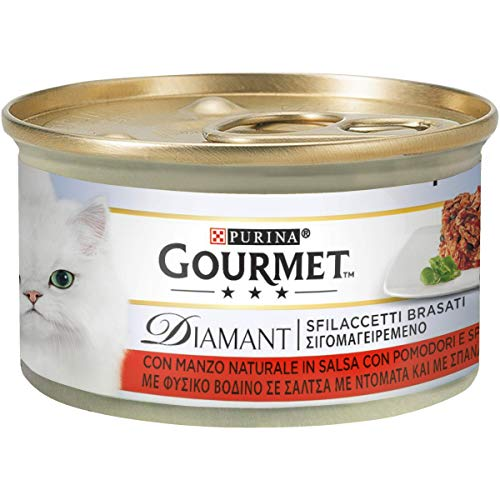 PURINA GOURMET DIAMANT Umido Gatto Sfilaccetti Brasati con Manzo in Salsa con Pomodori e Spinaci- 24 lattine da 85g ciascuna (confezione da 24x85g)