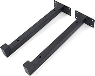Karcy Shelf Brackets Shelving Supports 8 in Iron Black with Mounting Screws and Expansion Tube Pack of 2