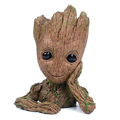 KnikGlass Baby Groot Blumentopf - Übertopf Aquarium Pflanztopf Dekor Figur Stiftehalter Holz, Bürotisch und Wohnheim Dekorationen