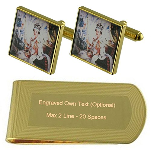 Select Gifts Royal Queen England Gold-Manschettenknöpfe Geldscheinklammer Gravur Geschenkset