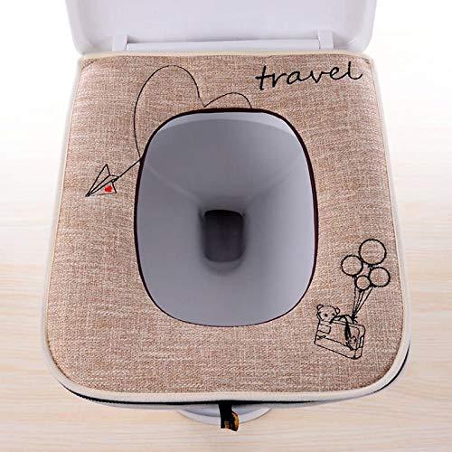del inodoro en toalla lavable y elástica Instalación de cremallera cuadrada de algodón y lino grueso con asa almohadilla para calentar inodoro antideslizante impermeable-C2