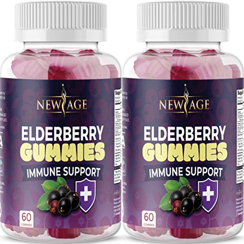 (2-Pack) Premium Elderberry Gummies by New Age for Adults Kids with Vitamin C, Zinc, Propolis - Sambucus Black Elderberry Gummy Extract - Gluten Free & Vegetarian - 120 Gummies