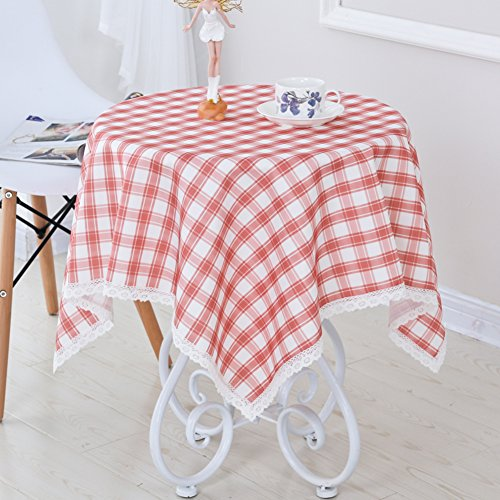 DTGERNJGFD Ronde tafelkleed, rond, tafelkleed, waterdicht behang, grote tafelkleed, doek, landelijk geruit tafelkleed 110x110cm(43x43inch) D
